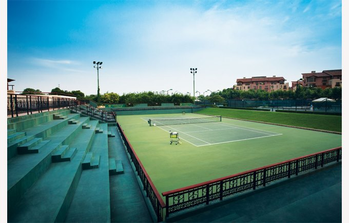 Image of Shanghai Raquet club, resort style living, tennis courts, green blue sky, accommodation, things to do in Shanghai, Shanghai China, what to do in Shanghai