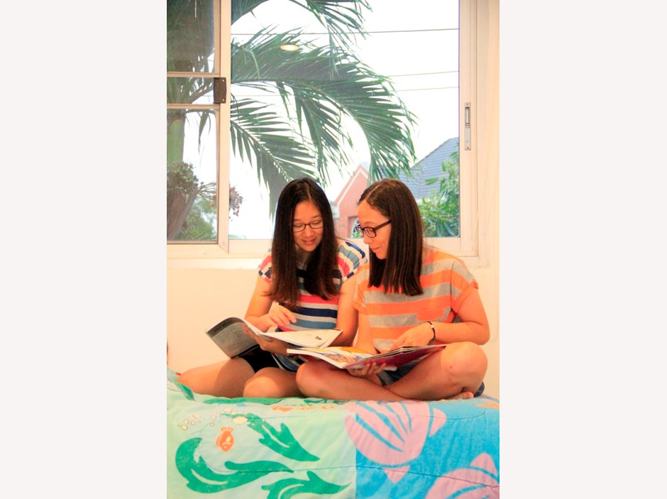 Girls studying in the boarding house