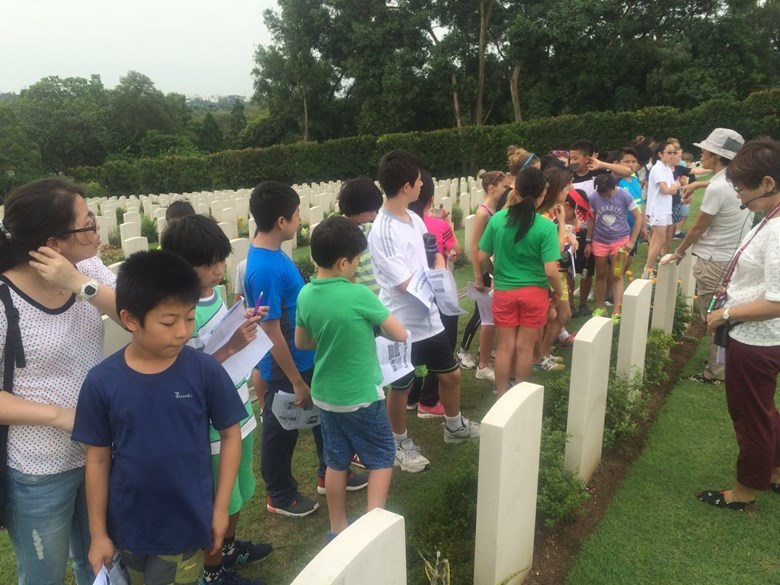 Year 6s visiting Kranji Memorial in Singapore