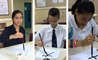 Students learning the art of Chinese Calligraphy