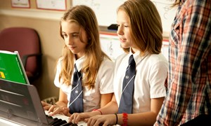 Secondary girls in a music lesson