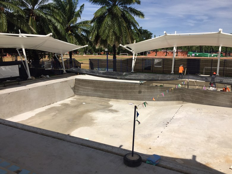 The pool has been drained to allow for new tiling and conversion to salt water.