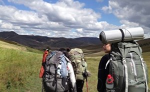 Secondary students hiking in Inner Mongolia