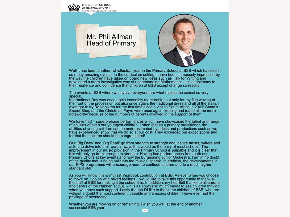 Head of Primary's reflections