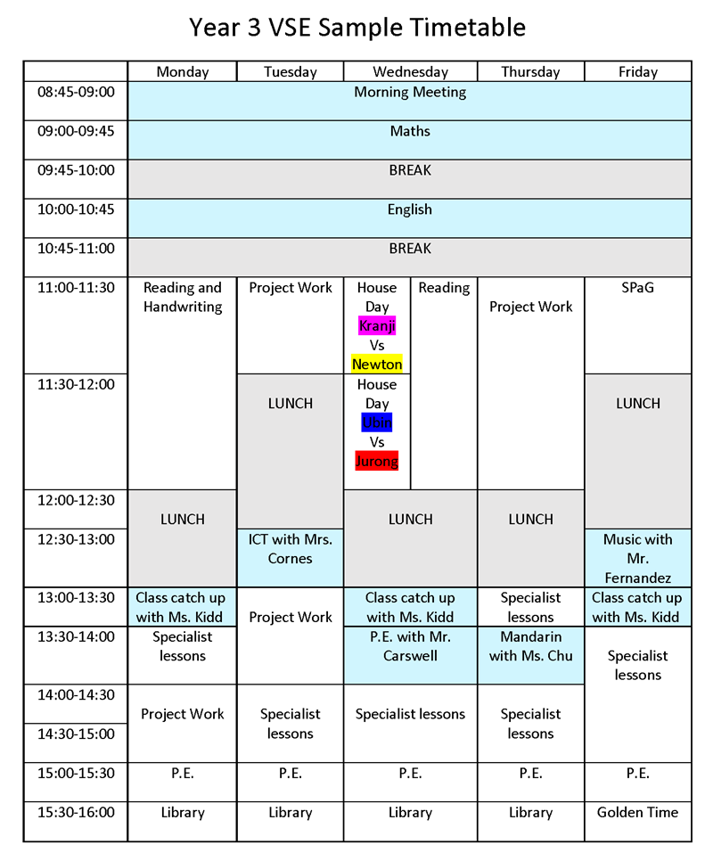 YEar 3 VSE Sample Timetable