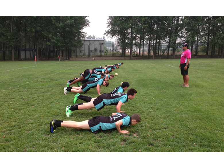 Under 15 rugby team training at the Beijing rugby tournament