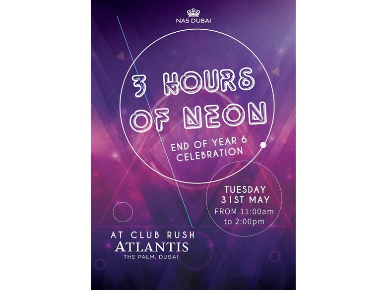 3 hours of neon - End of Year 6 Celebration