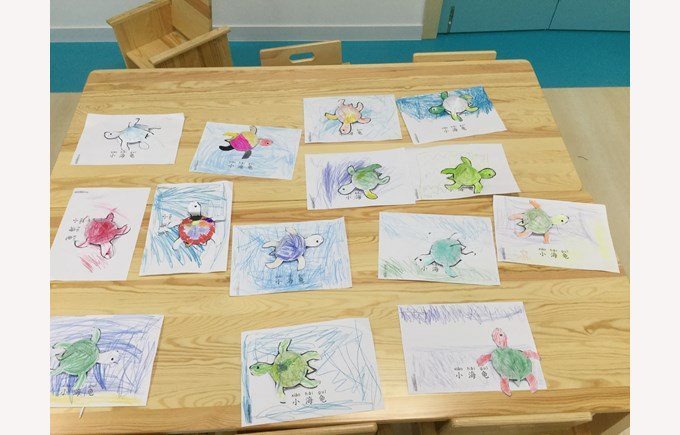 Reception hand crafts of sea animals in Chinese class