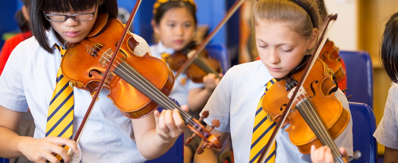 British School violin players