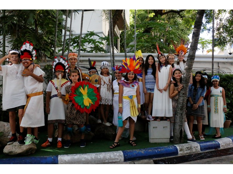 St. Andrews International School Bangkok students posing in traditional Aztec costumes.