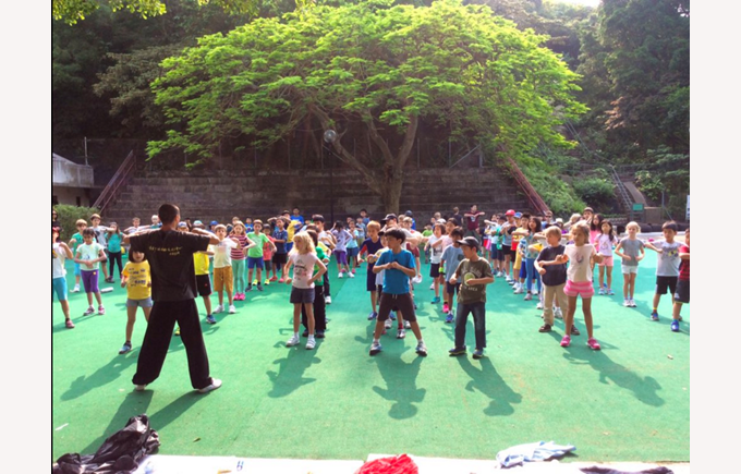 Year 3s doing Kung Fu in Tai O, Lantau Island