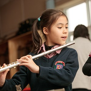 Primary Student playing trumpet