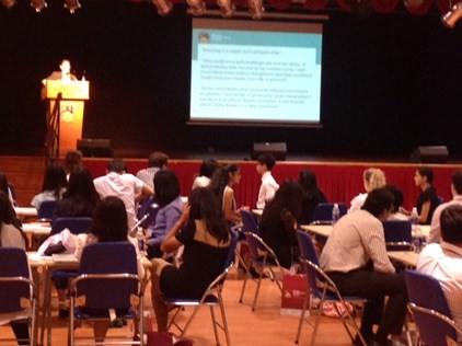 Ms Lauren Binnington, Head of Sixth Form presents to students as part of FOBISIA Student Leadership Conference