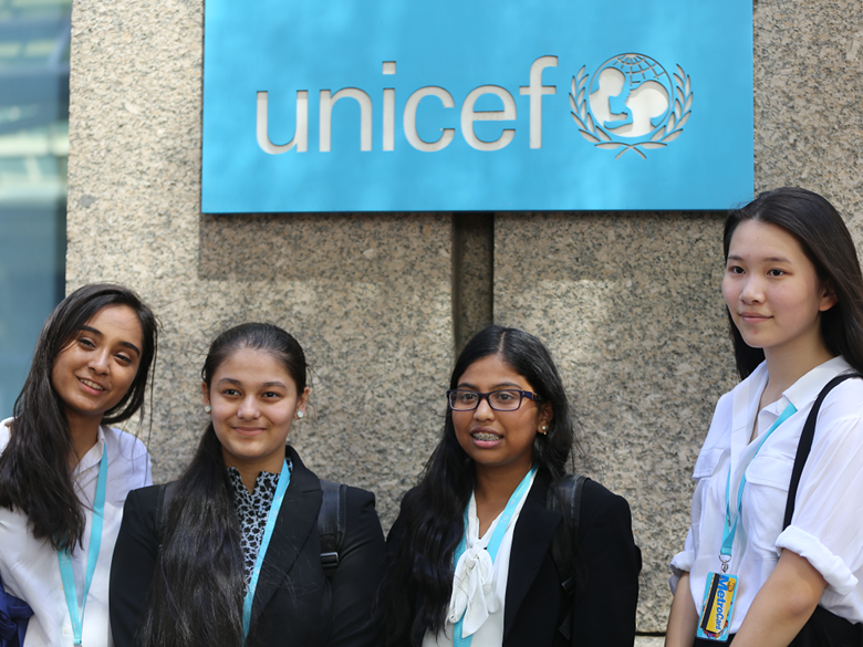 Students in front of UNICEF sign
