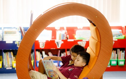BVIS students enjoys reading in Library