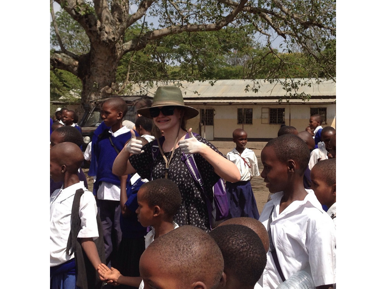Students from the British International School Shanghai, Puxi campus visit a local school in Tanzania.