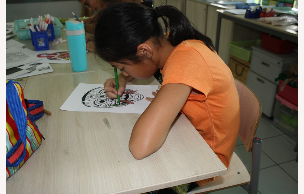 a student coloring