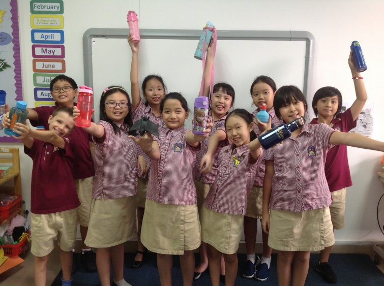 Eco_Warriors with their water bottles