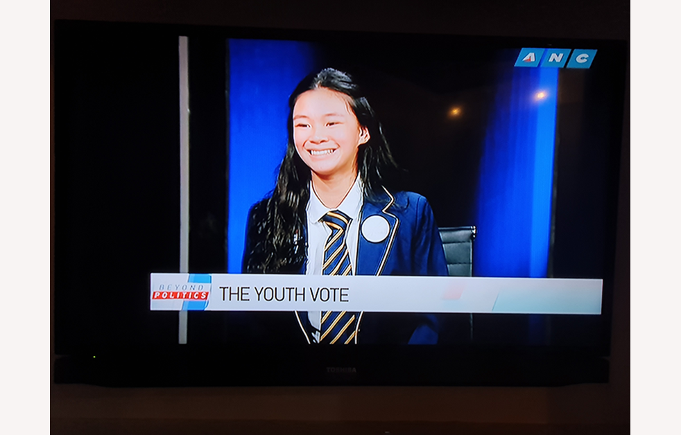 Student chats on television
