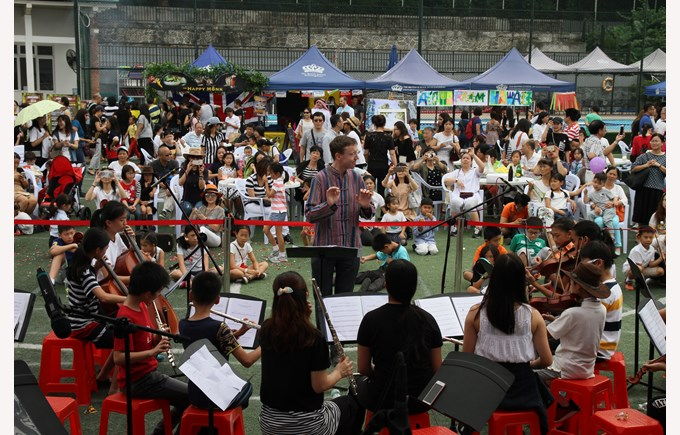 The orchestra performing at the event