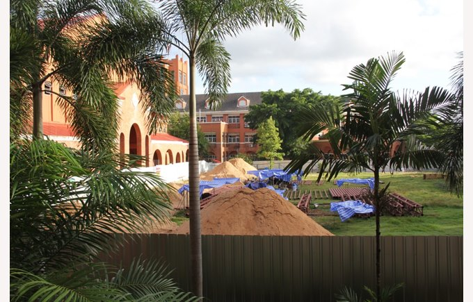 Construction of the Astroturf, August 2015 | Regents International School Pattaya