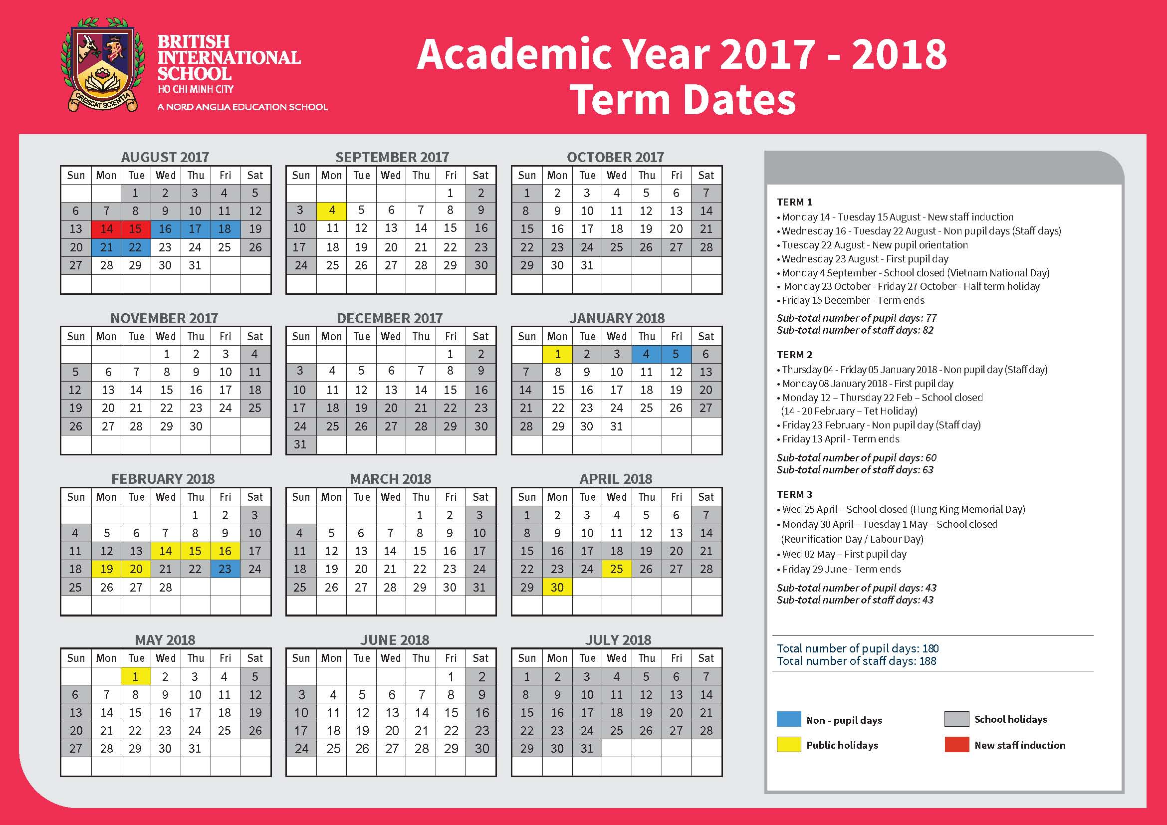 BIS HCMC Term Dates 2017-2018
