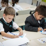 Year 1 primary students working in language class