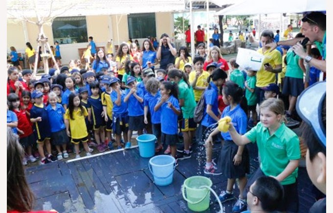 St. Andrews students soak their new House Captains at the first Fun Friday event.