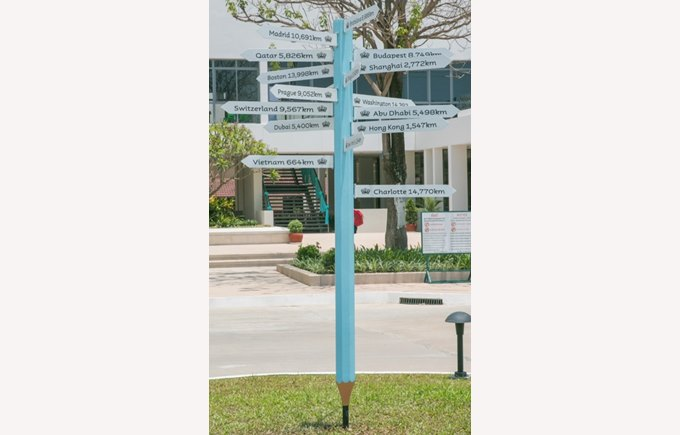 New pencil sign post