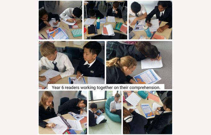 Year 6 working on their comprehension skills