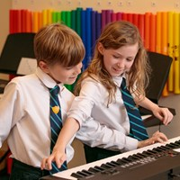 Juilliard Boy and Girl playing piano keyboard music lesson