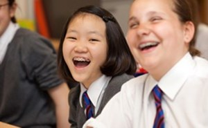 Students laughing in a lesson