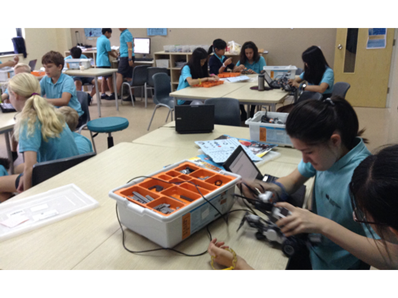 Year 6 students at the British International School Shanghai, learn about computer programming
