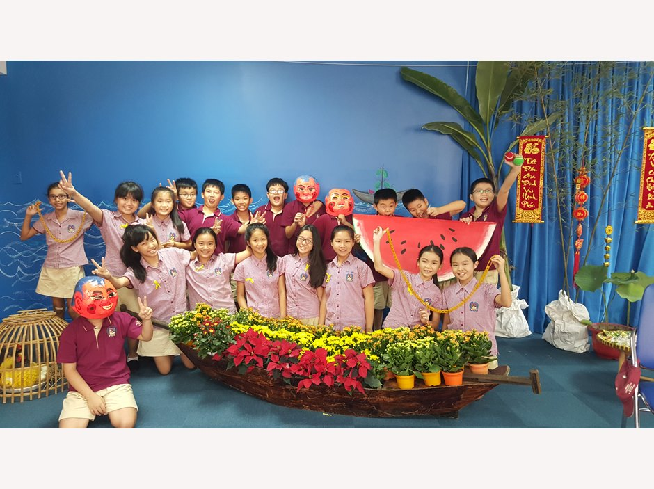 Tet celebration in a Vietnamese setting of Primary children