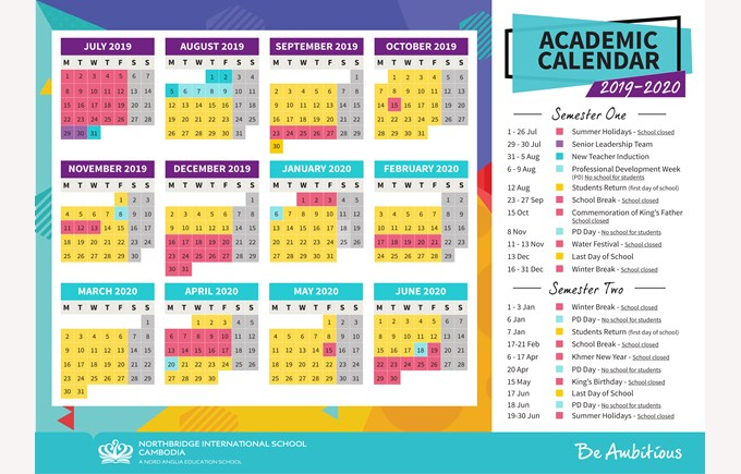 Northbridge International School Cambodia - Calendar 2019-2020