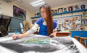 IB Diploma student in the art studio | Regents International School Pattaya