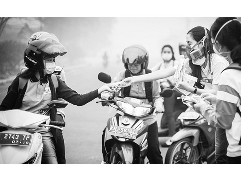 Mask distribution in Indonesia