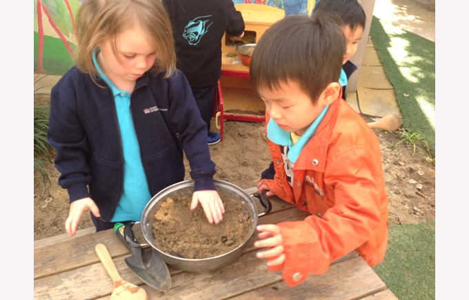 Preparing our mud mixture
