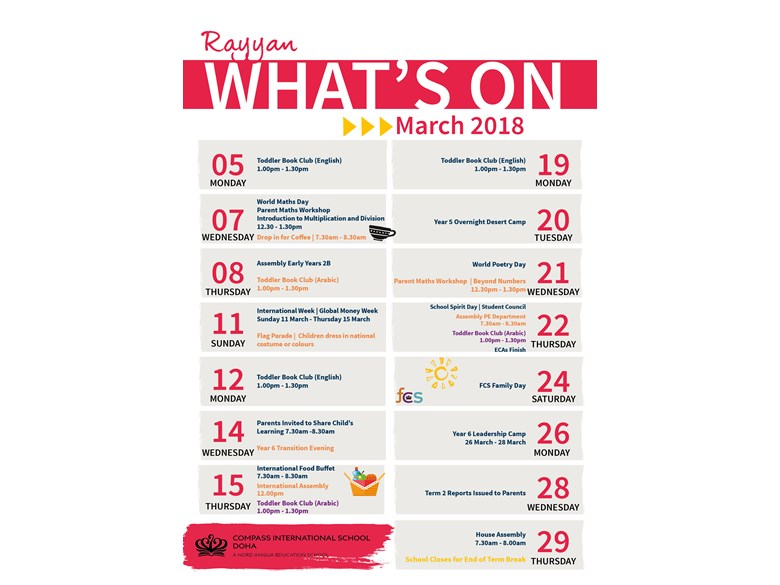 Rayyan What's on in March 2018