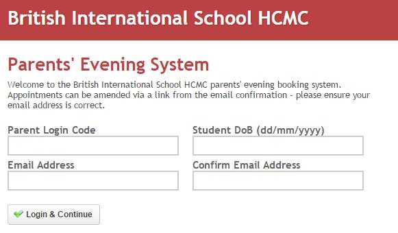 Parent Evening login
