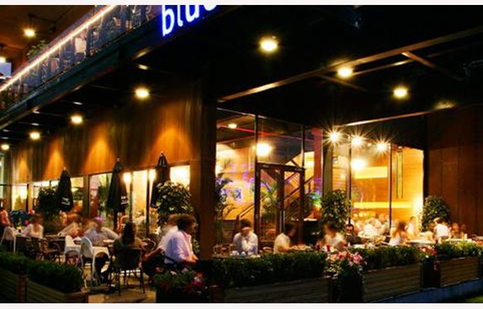Image shows Blurfrog restaurant, living in Shanghai, things to do in Shanghai, living in China, Life in China.