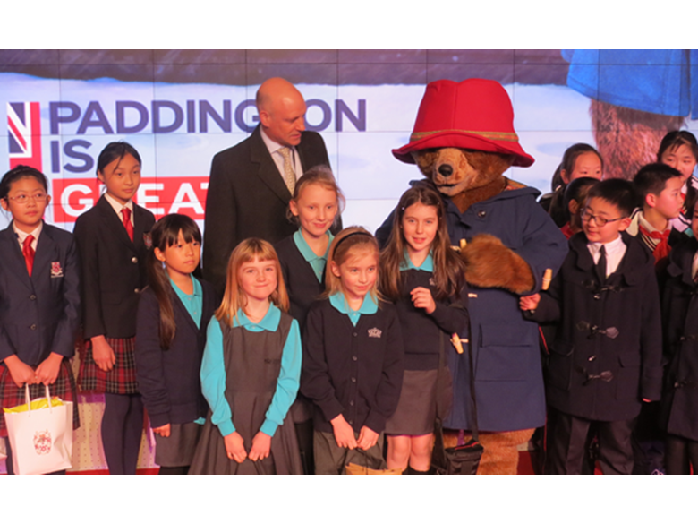 Students at the British International School Shanghai, Puxi meet Prince William and Paddington Bear