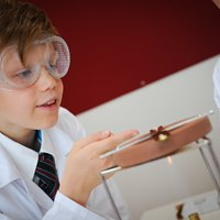 Secondary boy studying science