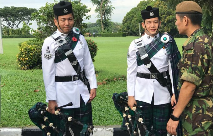 Pipers at Remembrance Sunday, Kranji War Memorial