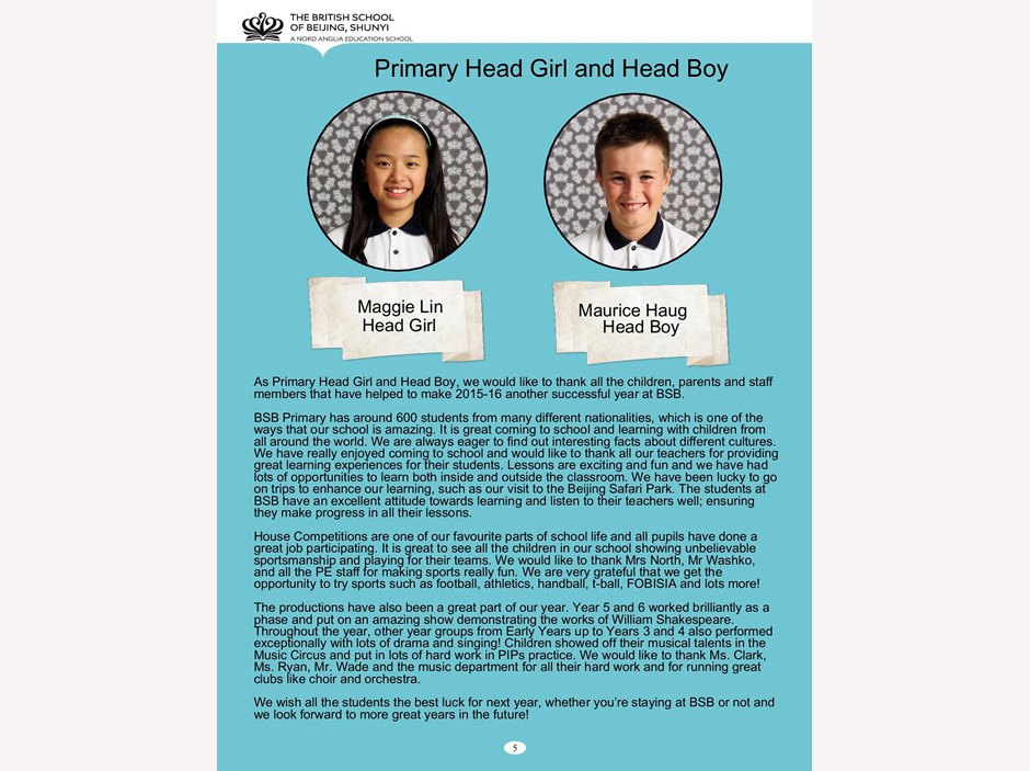 Primary Head boy and Head girl's reflections