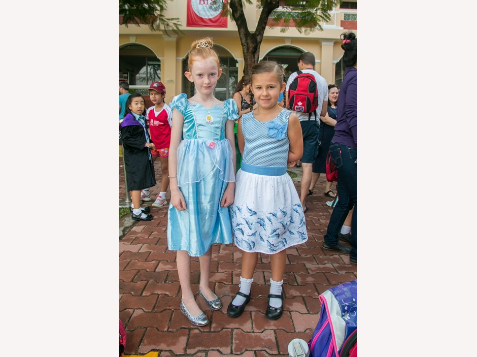 Two girls in dress at AP1 Book Week