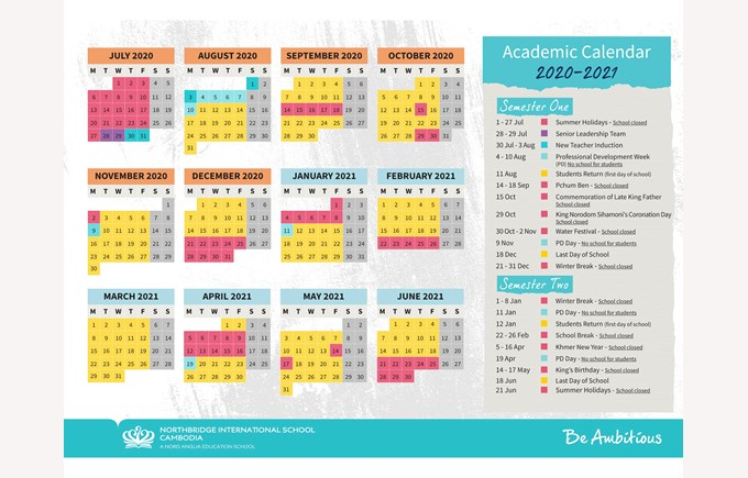 Northbridge International School Cambodia - Calendar 2020-2021