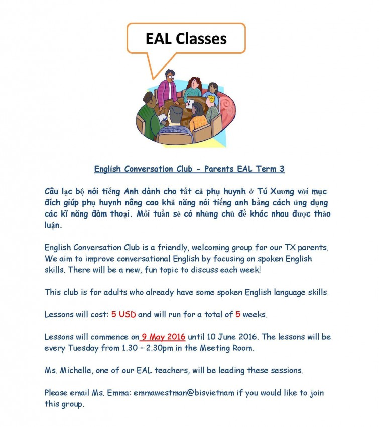 Parents EAL Term 3 flyer