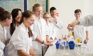 Students learning in a lab