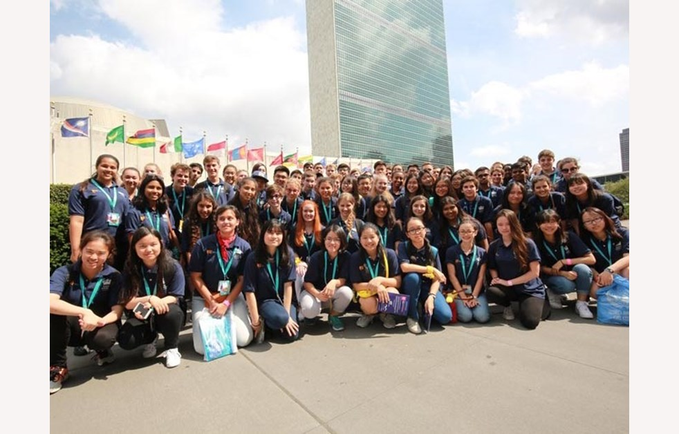 Cropped Image - Students outside UN building